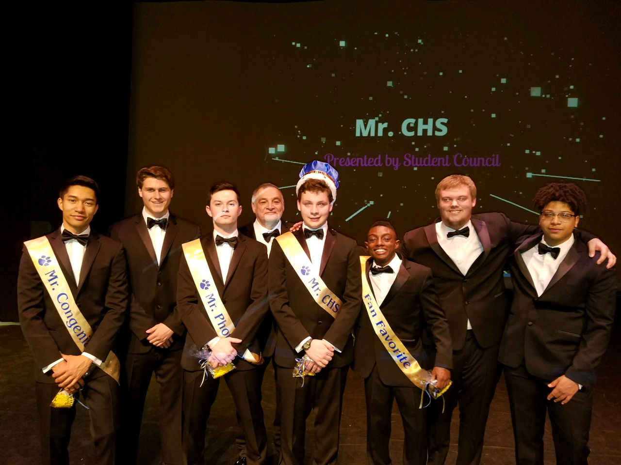 The 2018 Mr. CHS participants strike one last pose at the end of the night.